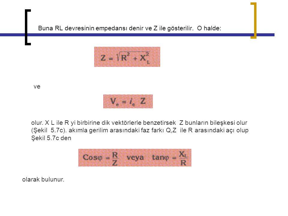Buna RL devresinin empedansı denir ve Z ile gösterilir. O halde: ve olur. X L ile R yi birbirine dik vektörlerle benzetirsek Z bunların bileşkesi olur