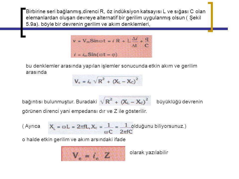 Birbirine seri bağlanmış,direnci R, öz indüksiyon katsayısı L ve sığası C olan elemanlardan oluşan devreye alternatif bir gerilim uygulanmış olsun ( Ş