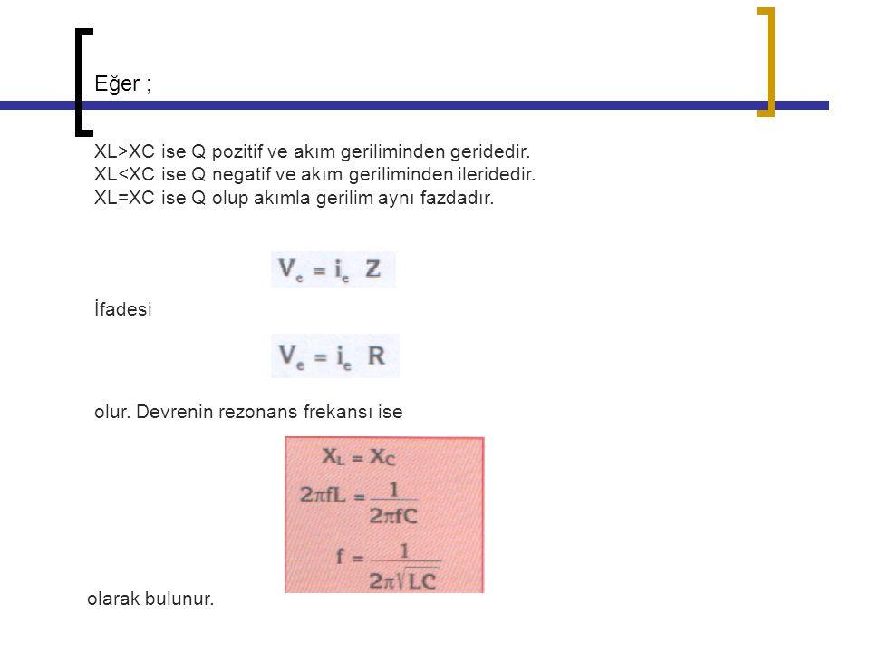 Eğer ; XL>XC ise Q pozitif ve akım geriliminden geridedir. XL<XC ise Q negatif ve akım geriliminden ileridedir. XL=XC ise Q olup akımla gerilim aynı f
