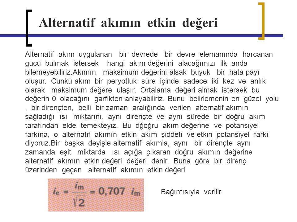 Alternatif akımın zaman bağlı garfiği Akım için etkin değerin karesinin gösterimi a) b)
