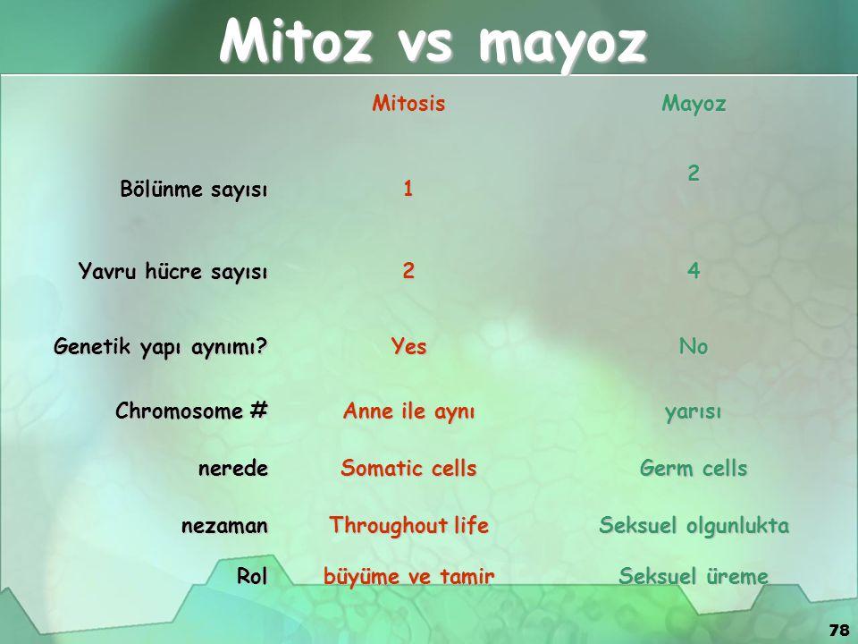 78 Mitosis Mayoz Bölünme sayısı 12 Yavru hücre sayısı 24 Genetik yapı aynımı? YesNo Chromosome # Anne ile aynı yarısı nerede Somatic cells Germ cells