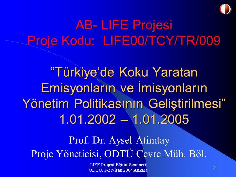 LIFE Projesi-Eğitim Semineri ODTÜ, 1-2 Nisan 2004 Ankara 22 Devam:  Projede elde edilecek ölçüm sonuçları ilerideki çalışmalar için iyi bir kaynak olacaktır.