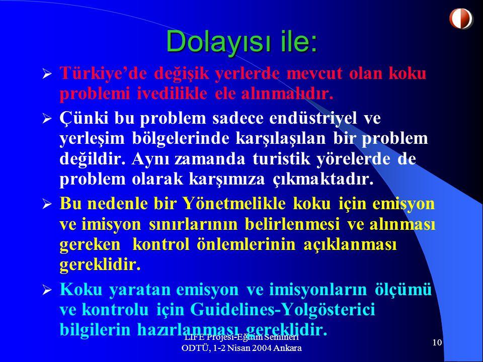 LIFE Projesi-Eğitim Semineri ODTÜ, 1-2 Nisan 2004 Ankara 10 Dolayısı ile:  Türkiye'de değişik yerlerde mevcut olan koku problemi ivedilikle ele alınmalıdır.