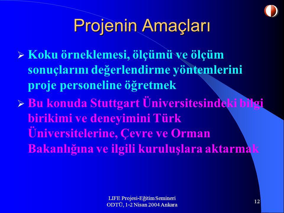 LIFE Projesi-Eğitim Semineri ODTÜ, 1-2 Nisan 2004 Ankara 12 Projenin Amaçları  Koku örneklemesi, ölçümü ve ölçüm sonuçlarını değerlendirme yöntemlerini proje personeline öğretmek  Bu konuda Stuttgart Üniversitesindeki bilgi birikimi ve deneyimini Türk Üniversitelerine, Çevre ve Orman Bakanlığına ve ilgili kuruluşlara aktarmak