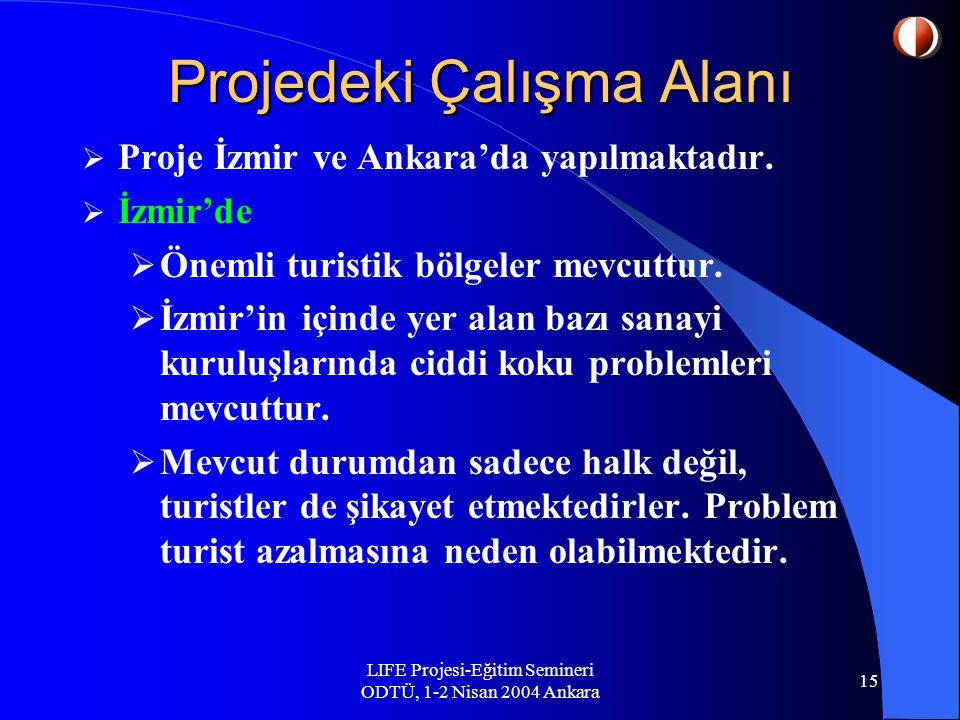 LIFE Projesi-Eğitim Semineri ODTÜ, 1-2 Nisan 2004 Ankara 15 Projedeki Çalışma Alanı  Proje İzmir ve Ankara'da yapılmaktadır.
