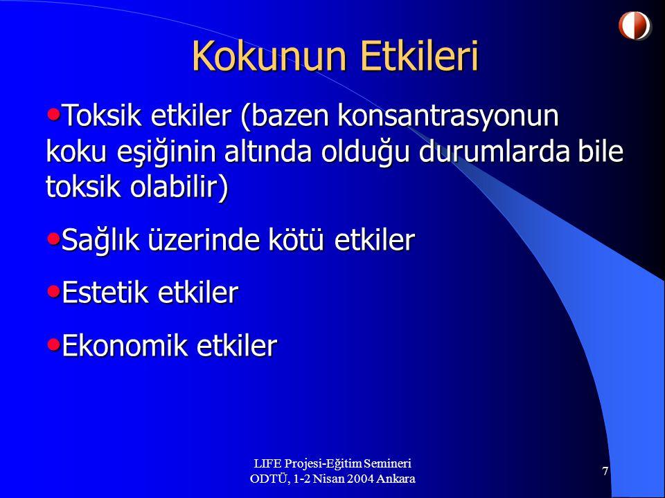 LIFE Projesi-Eğitim Semineri ODTÜ, 1-2 Nisan 2004 Ankara 7 Kokunun Etkileri Toksik etkiler (bazen konsantrasyonun koku eşiğinin altında olduğu durumlarda bile toksik olabilir) Toksik etkiler (bazen konsantrasyonun koku eşiğinin altında olduğu durumlarda bile toksik olabilir) Sağlık üzerinde kötü etkiler Sağlık üzerinde kötü etkiler Estetik etkiler Estetik etkiler Ekonomik etkiler Ekonomik etkiler