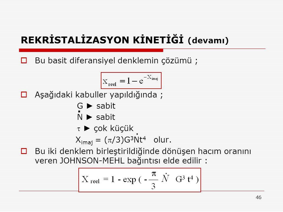 46 REKRİSTALİZASYON KİNETİĞİ (devamı)  Bu basit diferansiyel denklemin çözümü ;  Aşağıdaki kabuller yapıldığında ; G ► sabit N ► sabit  ► çok küçük