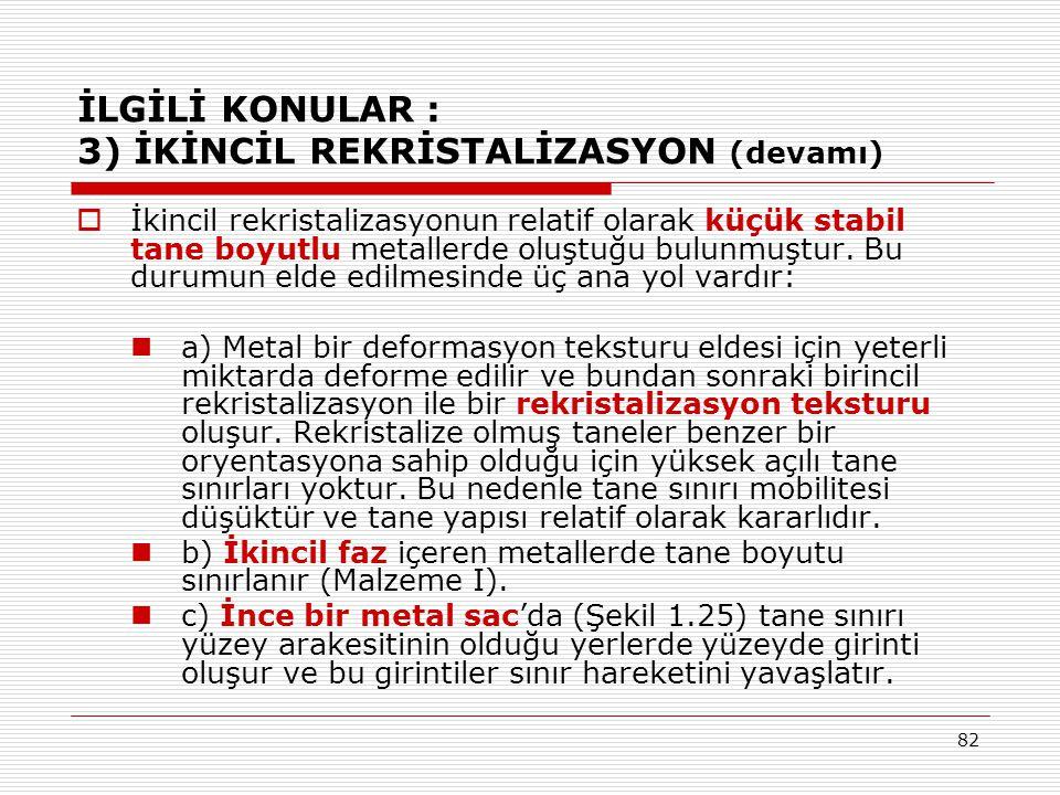 82 İLGİLİ KONULAR : 3) İKİNCİL REKRİSTALİZASYON (devamı)  İkincil rekristalizasyonun relatif olarak küçük stabil tane boyutlu metallerde oluştuğu bul
