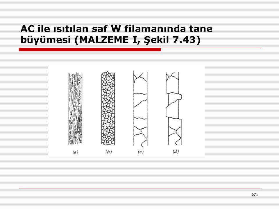85 AC ile ısıtılan saf W filamanında tane büyümesi (MALZEME I, Şekil 7.43)