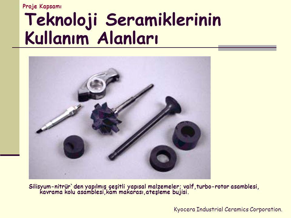 Silisyum-nitrür`den yapılmış çeşitli yapısal malzemeler; valf,turbo-rotor asamblesi, kavrama kolu asamblesi,kam makarası,ateşleme bujisi.
