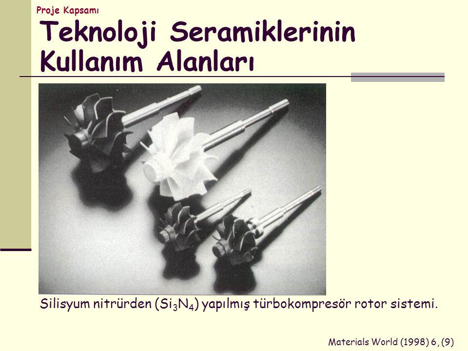 Silisyum nitrürden (Si 3 N 4 ) yapılmış türbokompresör rotor sistemi. Materials World (1998) 6, (9) Teknoloji Seramiklerinin Kullanım Alanları Proje K