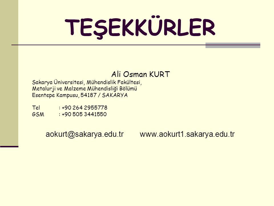Ali Osman KURT Sakarya Üniversitesi, Mühendislik Fakültesi, Metalurji ve Malzeme Mühendisliği Bölümü Esentepe Kampusu, 54187 / SAKARYA Tel: +90 264 2955778 GSM: +90 505 3441550 aokurt@sakarya.edu.tr www.aokurt1.sakarya.edu.tr TEŞEKKÜRLER