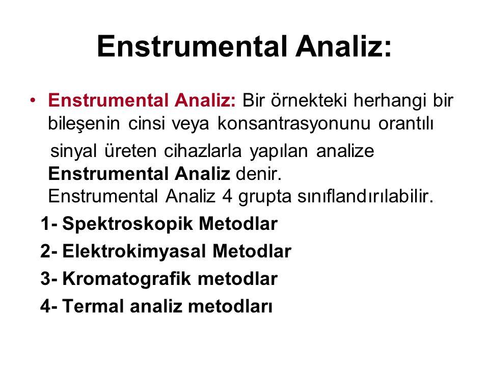 Enstrumental Analiz: Enstrumental Analiz: Bir örnekteki herhangi bir bileşenin cinsi veya konsantrasyonunu orantılı sinyal üreten cihazlarla yapılan a