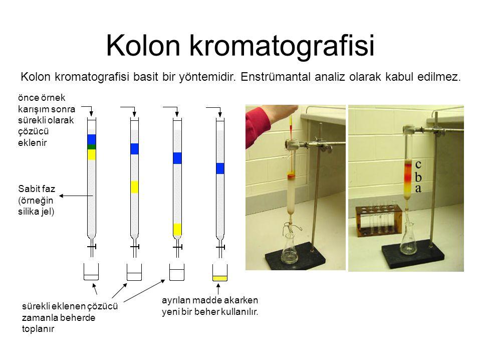 Kolon kromatografisi önce örnek karışım sonra sürekli olarak çözücü eklenir ayrılan madde akarken yeni bir beher kullanılır. Kolon kromatografisi basi