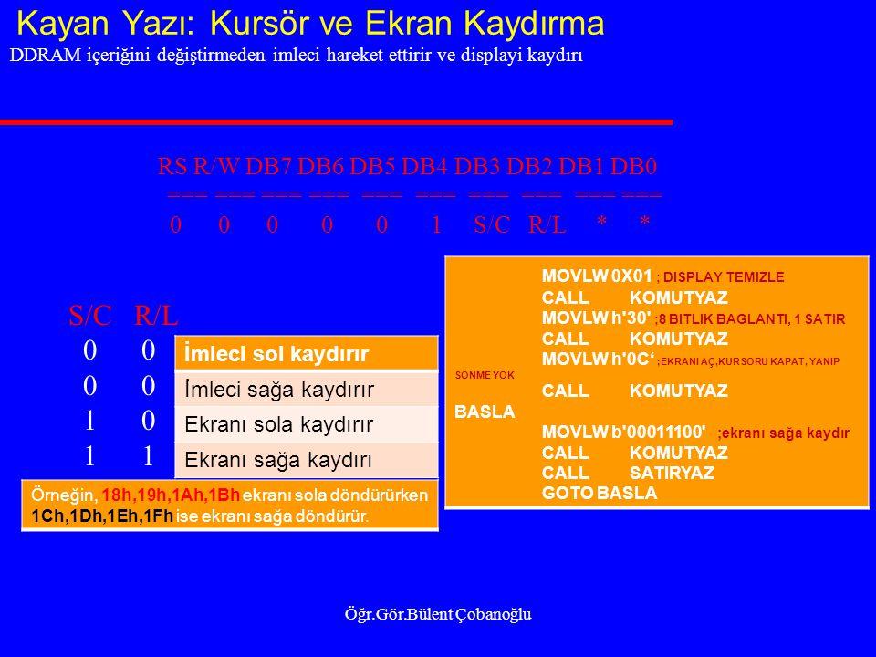 Kayan Yazı: Kursör ve Ekran Kaydırma Öğr.Gör.Bülent Çobanoğlu DDRAM içeriğini değiştirmeden imleci hareket ettirir ve displayi kaydırı RS R/W DB7 DB6 DB5 DB4 DB3 DB2 DB1 DB0 === === === === === 0 0 0 0 0 1 S/C R/L * * S/C R/L 0 0 1 0 1 1 İmleci sol kaydırır İmleci sağa kaydırır Ekranı sola kaydırır Ekranı sağa kaydırı Örneğin, 18h,19h,1Ah,1Bh ekranı sola döndürürken 1Ch,1Dh,1Eh,1Fh ise ekranı sağa döndürür.