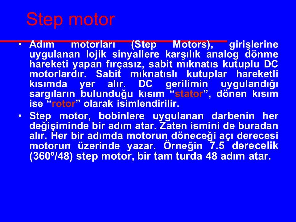 Step motor Adım motorları (Step Motors), girişlerine uygulanan lojik sinyallere karşılık analog dönme hareketi yapan fırçasız, sabit mıknatıs kutuplu DC motorlardır.