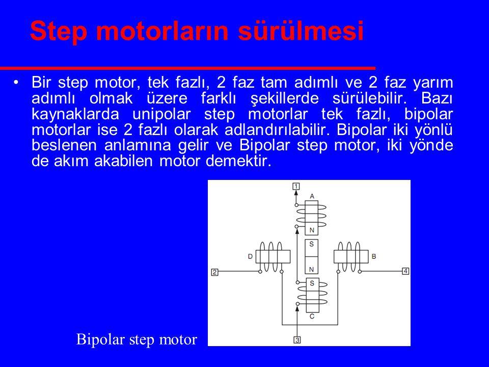 Step motorların sürülmesi Bir step motor, tek fazlı, 2 faz tam adımlı ve 2 faz yarım adımlı olmak üzere farklı şekillerde sürülebilir.