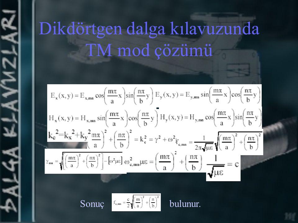 Dikdörtgen dalga kılavuzunda TM mod çözümü Sonuçbulunur.