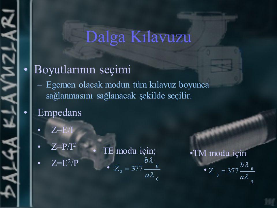 Dalga Kılavuzu Boyutlarının seçimi –Egemen olacak modun tüm kılavuz boyunca sağlanmasını sağlanacak şekilde seçilir. Empedans Z=E/I Z=P/I 2 Z=E 2 /P T