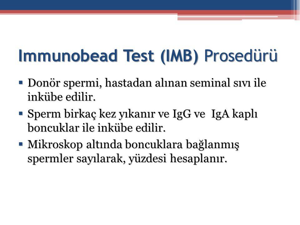 Immunobead Test (IMB) Prosedürü  Donör spermi, hastadan alınan seminal sıvı ile inkübe edilir.  Sperm birkaç kez yıkanır ve IgG ve IgA kaplı boncukl