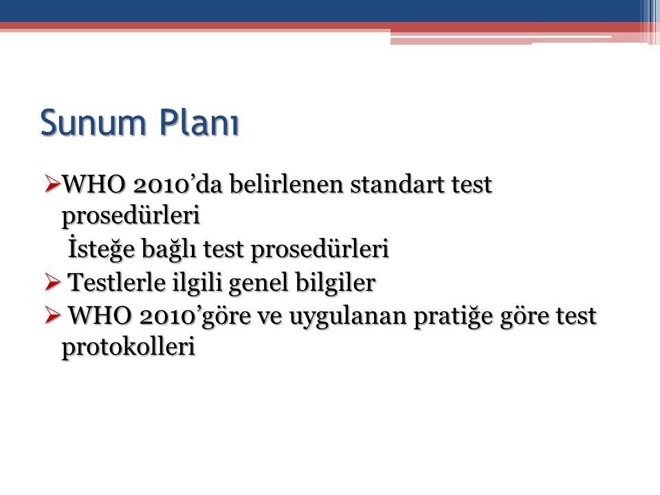 Sunum Planı  WHO 2010'da belirlenen standart test prosedürleri İsteğe bağlı test prosedürleri İsteğe bağlı test prosedürleri  Testlerle ilgili genel