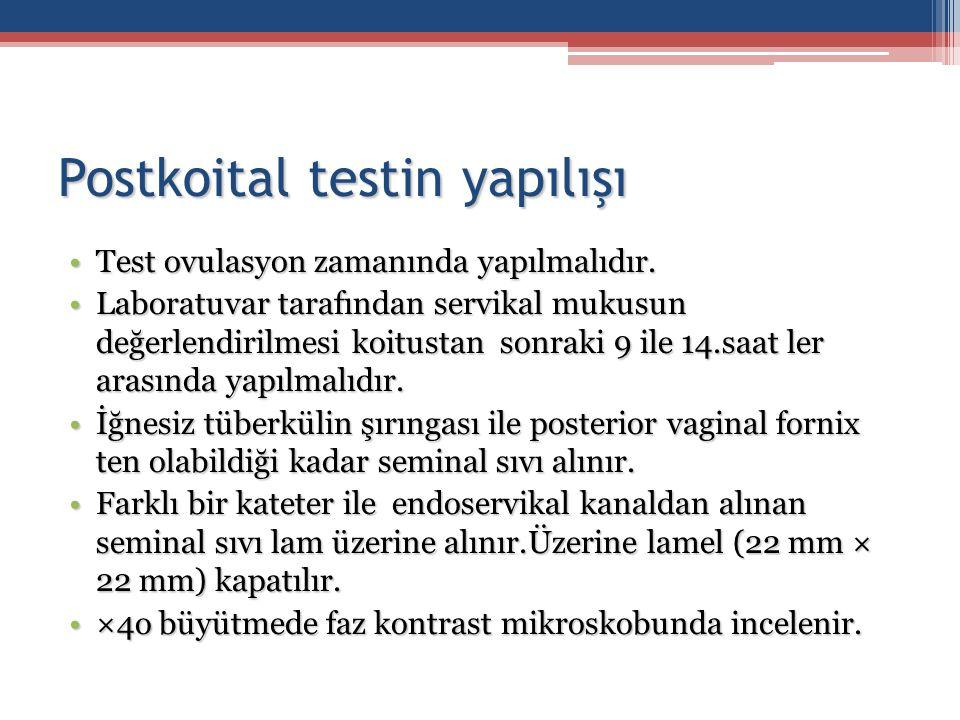 Postkoital testin yapılışı Test ovulasyon zamanında yapılmalıdır.Test ovulasyon zamanında yapılmalıdır. Laboratuvar tarafından servikal mukusun değerl