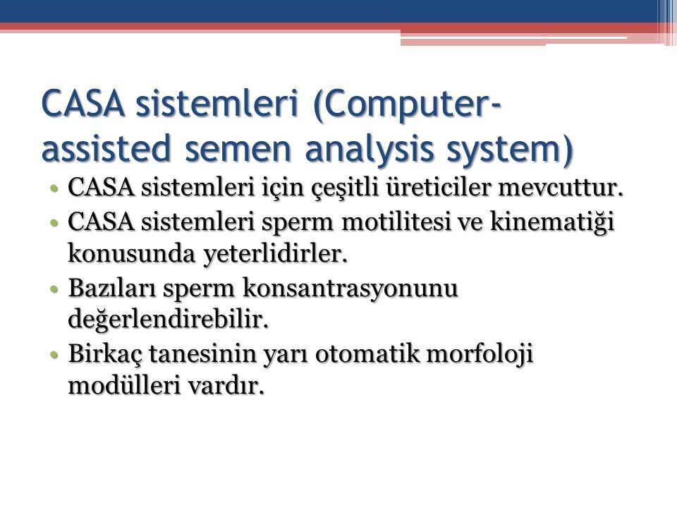 CASA sistemleri (Computer- assisted semen analysis system) CASA sistemleri için çeşitli üreticiler mevcuttur.CASA sistemleri için çeşitli üreticiler m