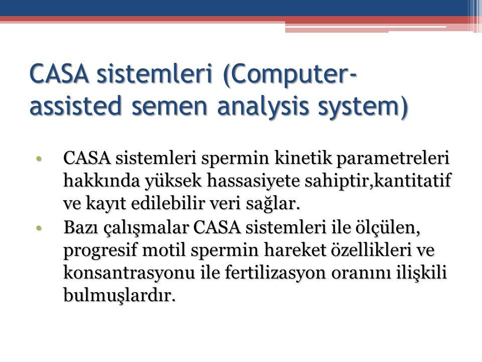CASA sistemleri (Computer- assisted semen analysis system) CASA sistemleri spermin kinetik parametreleri hakkında yüksek hassasiyete sahiptir,kantitat