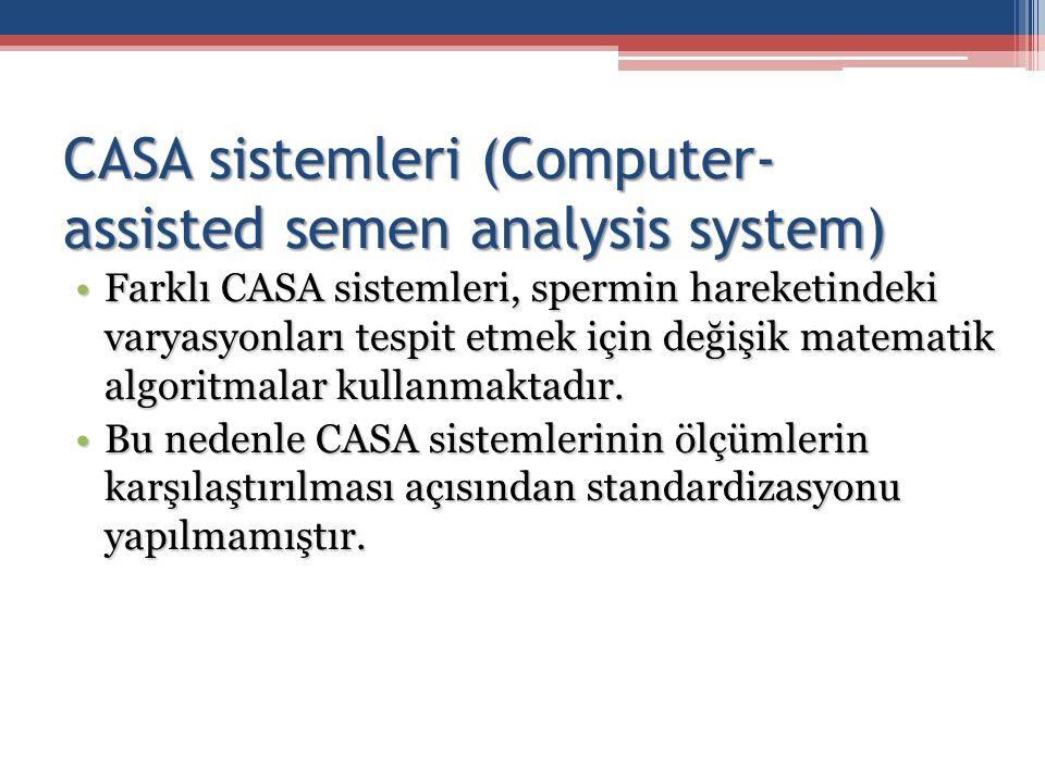 Farklı CASA sistemleri, spermin hareketindeki varyasyonları tespit etmek için değişik matematik algoritmalar kullanmaktadır.Farklı CASA sistemleri, sp