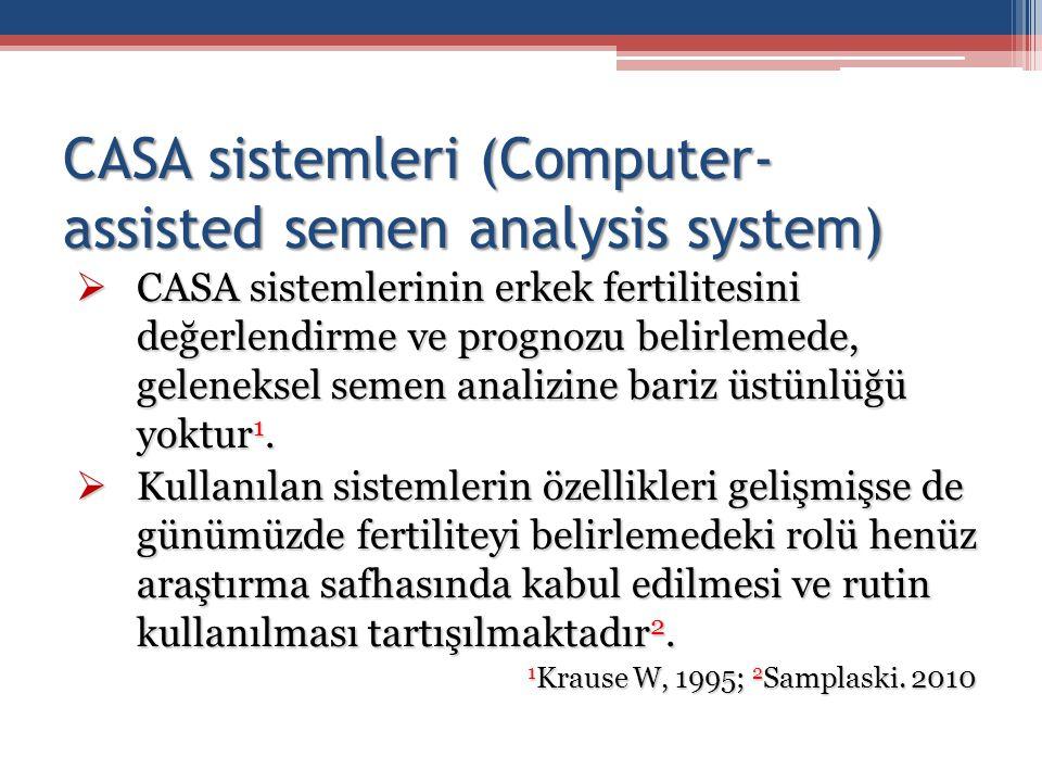 CASA sistemleri (Computer- assisted semen analysis system)  CASA sistemlerinin erkek fertilitesini değerlendirme ve prognozu belirlemede, geleneksel