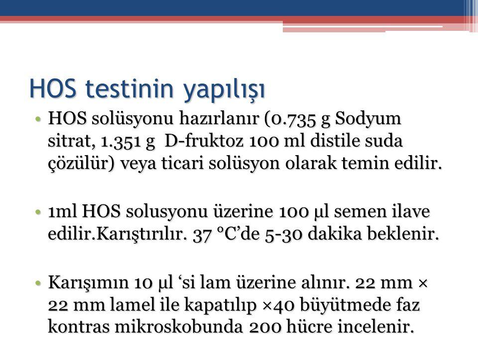 HOS testinin yapılışı HOS solüsyonu hazırlanır (0.735 g Sodyum sitrat, 1.351 g D-fruktoz 100 ml distile suda çözülür) veya ticari solüsyon olarak temi