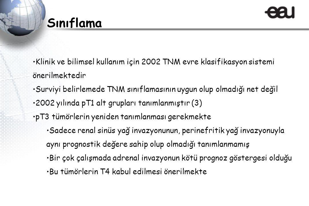 Klinik ve bilimsel kullanım için 2002 TNM evre klasifikasyon sistemi önerilmektedir Surviyi belirlemede TNM sınıflamasının uygun olup olmadığı net değ