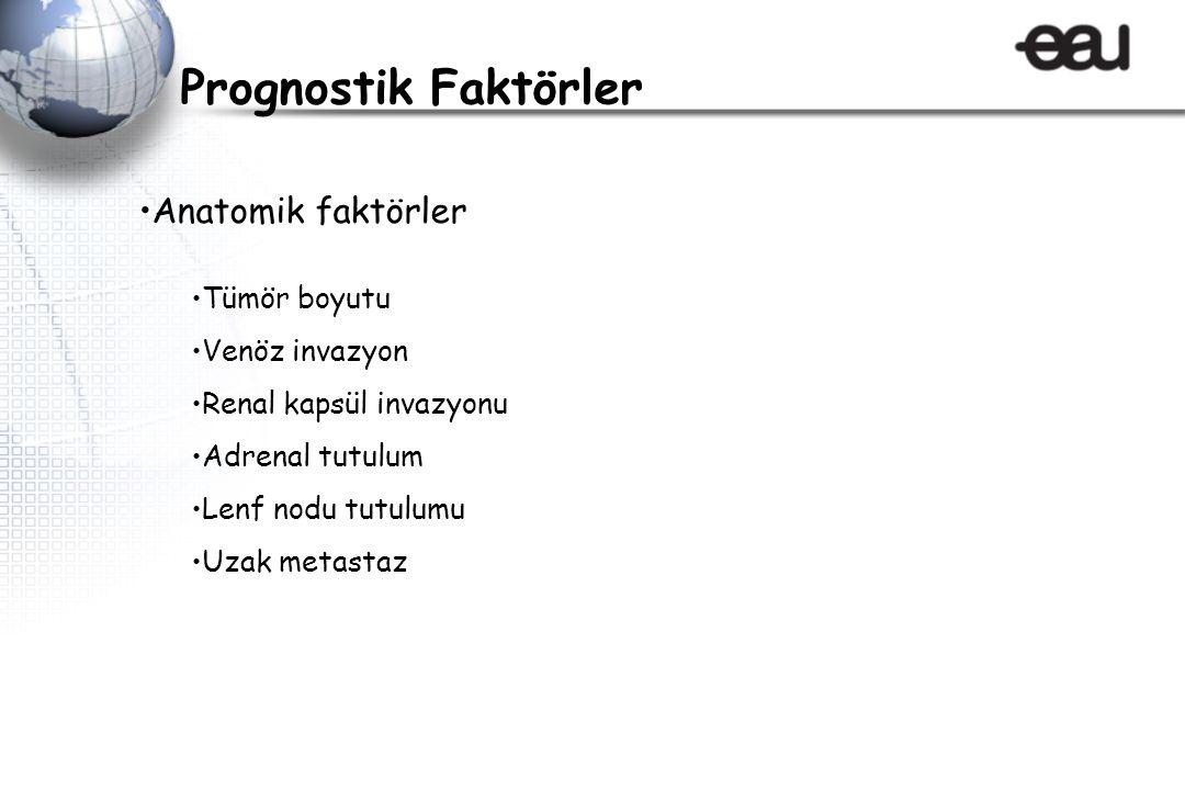 Anatomik faktörler Tümör boyutu Venöz invazyon Renal kapsül invazyonu Adrenal tutulum Lenf nodu tutulumu Uzak metastaz Prognostik Faktörler