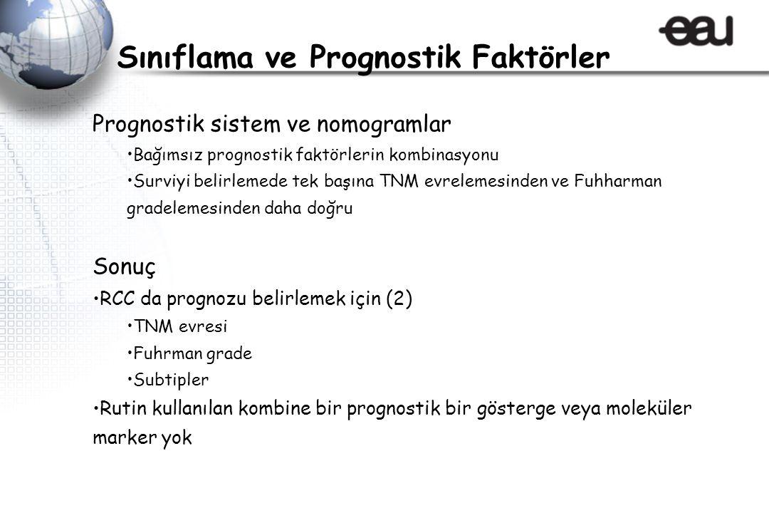 Prognostik sistem ve nomogramlar Bağımsız prognostik faktörlerin kombinasyonu Surviyi belirlemede tek başına TNM evrelemesinden ve Fuhharman gradeleme