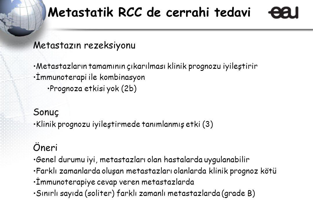 Metastazın rezeksiyonu Metastazların tamamının çıkarılması klinik prognozu iyileştirir İmmunoterapi ile kombinasyon Prognoza etkisi yok (2b) Sonuç Kli
