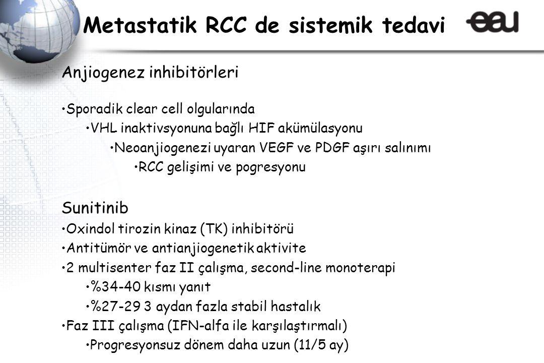 Anjiogenez inhibitörleri Sporadik clear cell olgularında VHL inaktivsyonuna bağlı HIF akümülasyonu Neoanjiogenezi uyaran VEGF ve PDGF aşırı salınımı R
