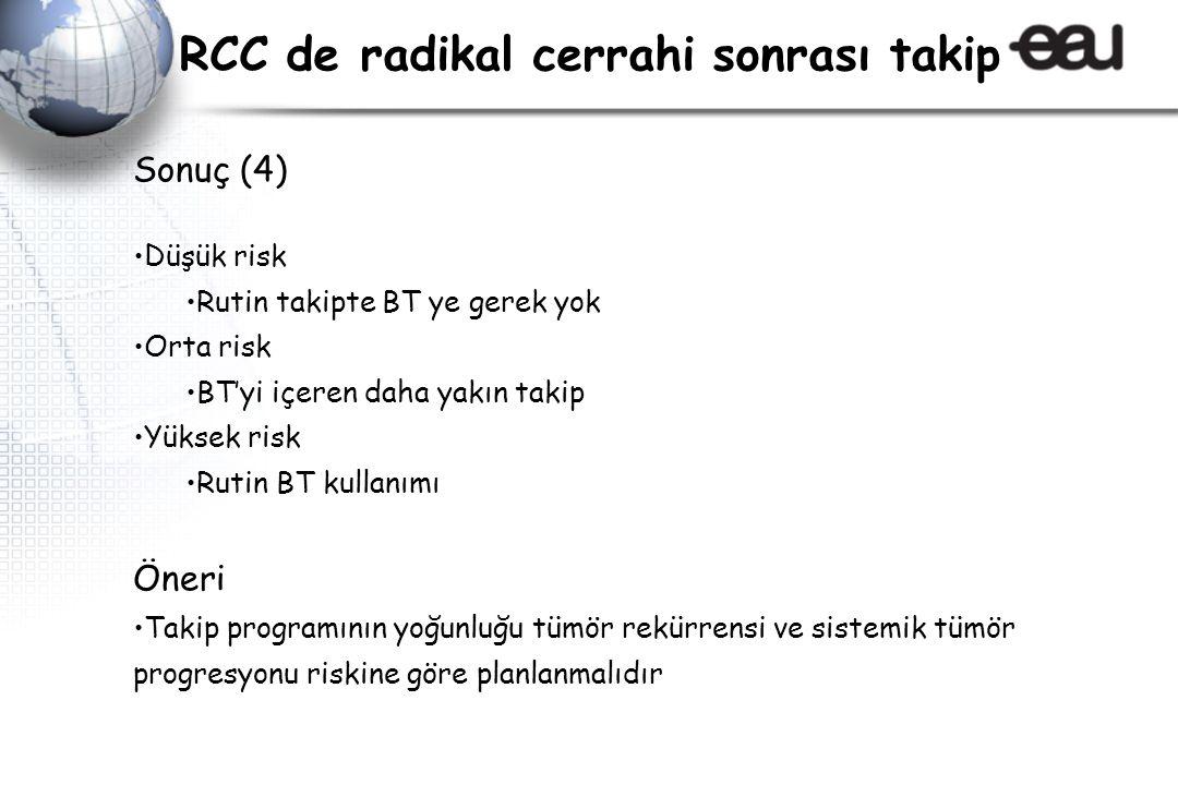 Sonuç (4) Düşük risk Rutin takipte BT ye gerek yok Orta risk BT'yi içeren daha yakın takip Yüksek risk Rutin BT kullanımı Öneri Takip programının yoğu