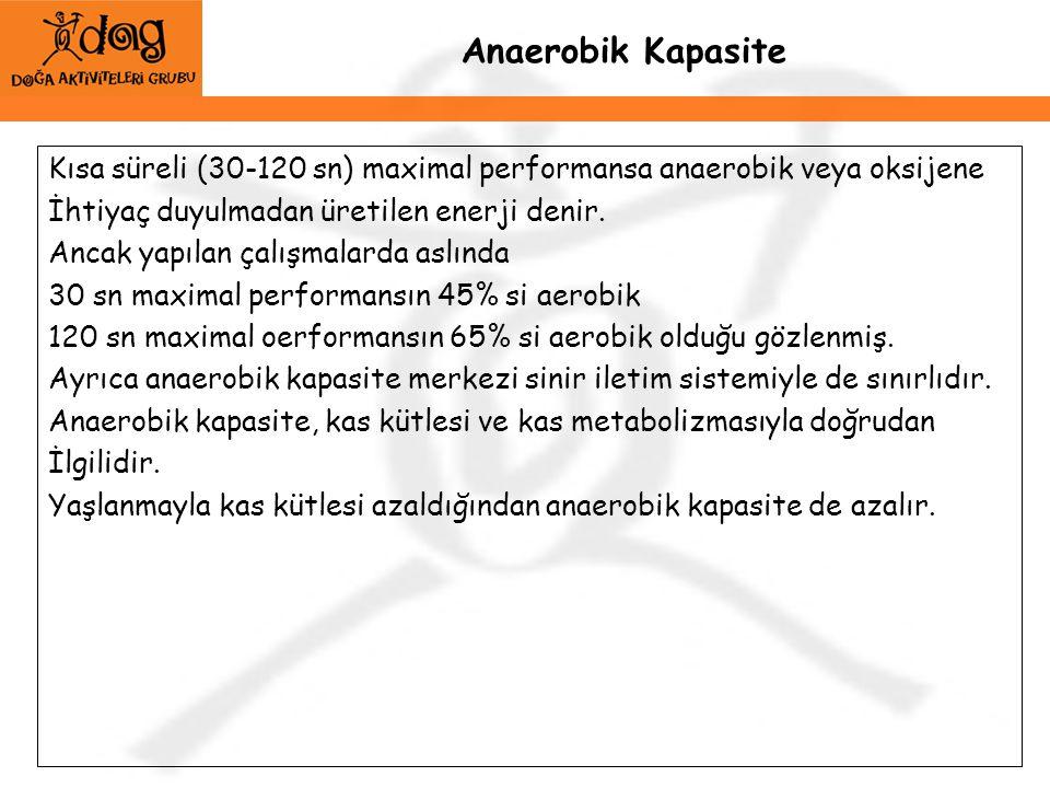 Anaerobik Kapasite Kısa süreli (30-120 sn) maximal performansa anaerobik veya oksijene İhtiyaç duyulmadan üretilen enerji denir. Ancak yapılan çalışma