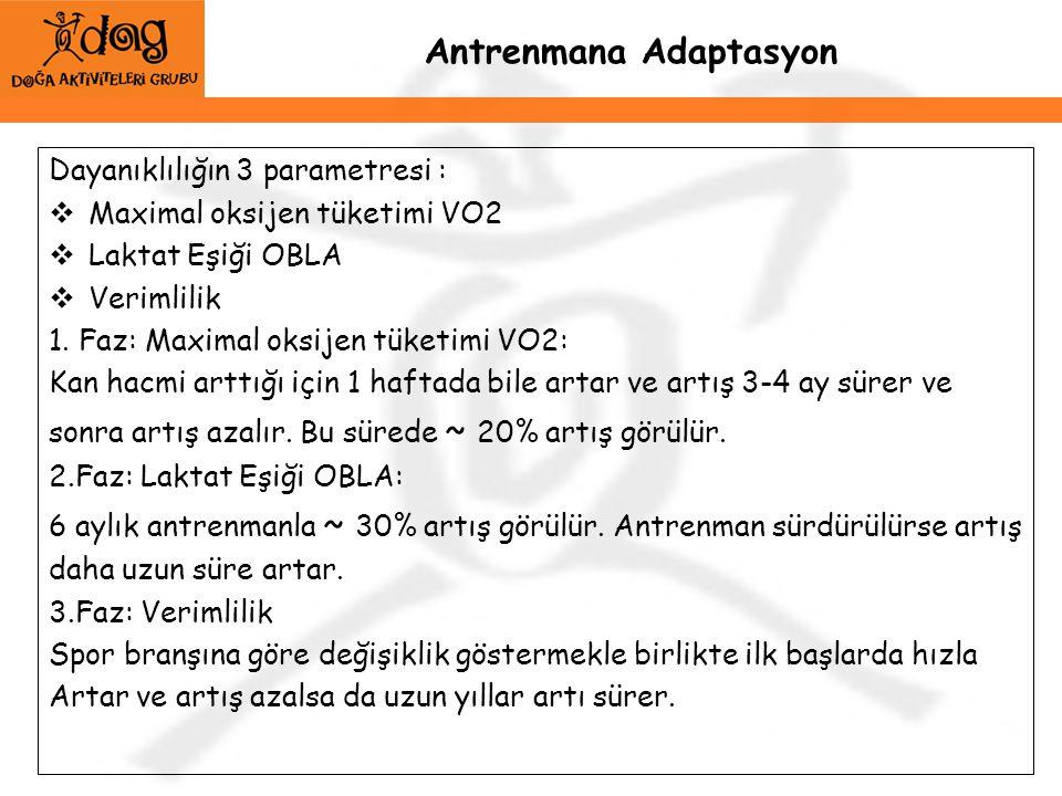 Antrenmana Adaptasyon Dayanıklılığın 3 parametresi :  Maximal oksijen tüketimi VO2  Laktat Eşiği OBLA  Verimlilik 1. Faz: Maximal oksijen tüketimi