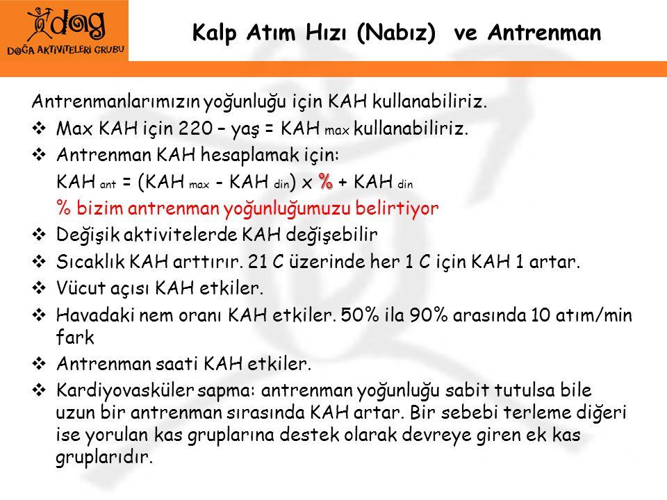Kalp Atım Hızı (Nabız) ve Antrenman Antrenmanlarımızın yoğunluğu için KAH kullanabiliriz.  Max KAH için 220 – yaş = KAH max kullanabiliriz.  Antrenm