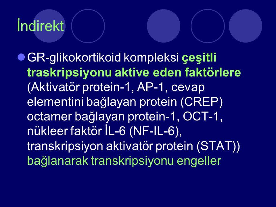 İndirekt GR-glikokortikoid kompleksi çeşitli traskripsiyonu aktive eden faktörlere (Aktivatör protein-1, AP-1, cevap elementini bağlayan protein (CREP