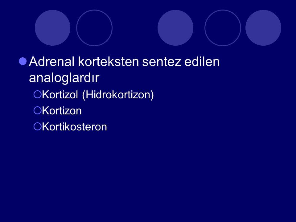 Adrenal korteksten sentez edilen analoglardır  Kortizol (Hidrokortizon)  Kortizon  Kortikosteron