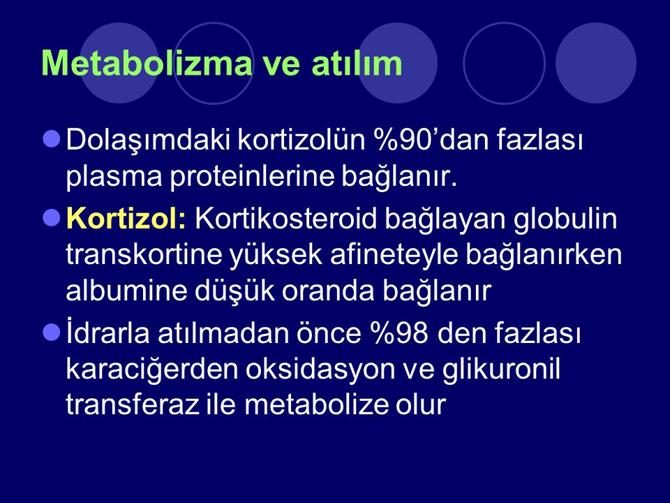 Metabolizma ve atılım Dolaşımdaki kortizolün %90'dan fazlası plasma proteinlerine bağlanır. Kortizol: Kortikosteroid bağlayan globulin transkortine yü