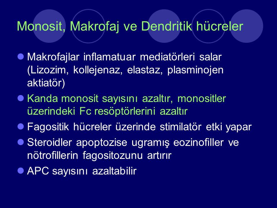 Monosit, Makrofaj ve Dendritik hücreler Makrofajlar inflamatuar mediatörleri salar (Lizozim, kollejenaz, elastaz, plasminojen aktiatör) Kanda monosit