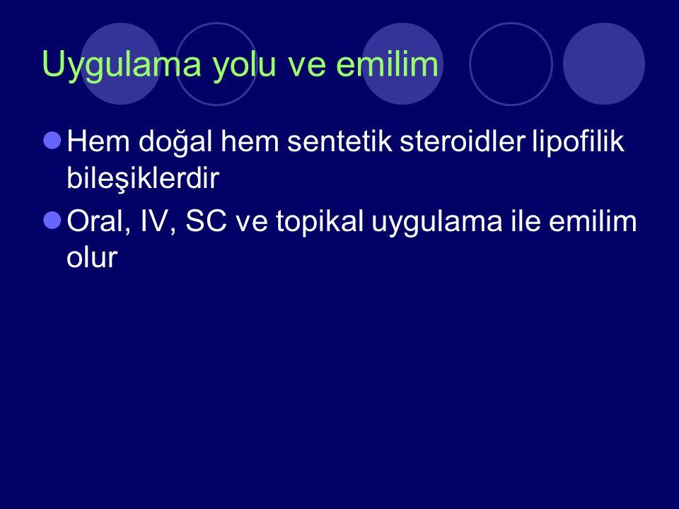 Uygulama yolu ve emilim Hem doğal hem sentetik steroidler lipofilik bileşiklerdir Oral, IV, SC ve topikal uygulama ile emilim olur