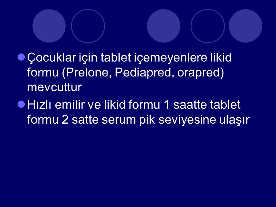Çocuklar için tablet içemeyenlere likid formu (Prelone, Pediapred, orapred) mevcuttur Hızlı emilir ve likid formu 1 saatte tablet formu 2 satte serum