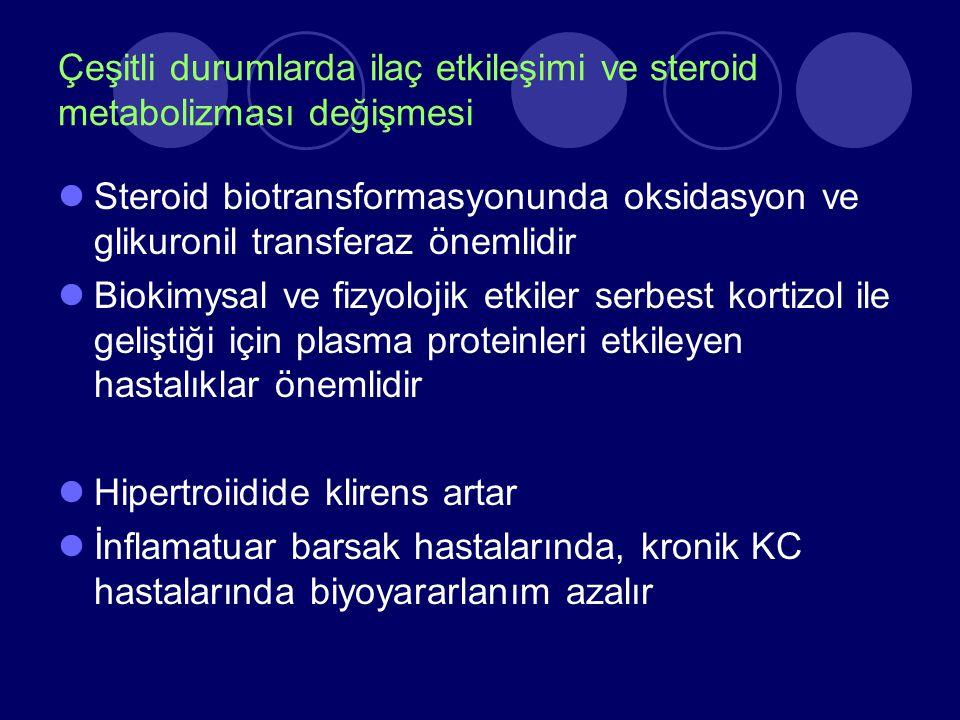 Çeşitli durumlarda ilaç etkileşimi ve steroid metabolizması değişmesi Steroid biotransformasyonunda oksidasyon ve glikuronil transferaz önemlidir Biok