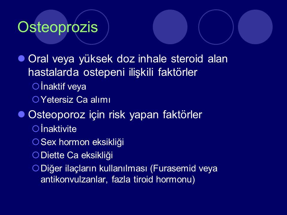 Osteoprozis Oral veya yüksek doz inhale steroid alan hastalarda ostepeni ilişkili faktörler  İnaktif veya  Yetersiz Ca alımı Osteoporoz için risk ya