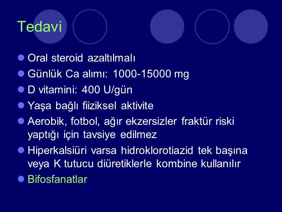 Tedavi Oral steroid azaltılmalı Günlük Ca alımı: 1000-15000 mg D vitamini: 400 U/gün Yaşa bağlı fiiziksel aktivite Aerobik, fotbol, ağır ekzersizler f