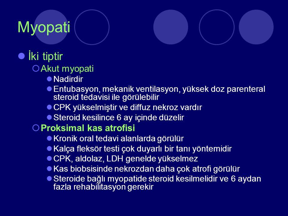 Myopati İki tiptir  Akut myopati Nadirdir Entubasyon, mekanik ventilasyon, yüksek doz parenteral steroid tedavisi ile görülebilir CPK yükselmiştir ve